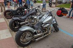 摩托车展示在Palamos在西班牙 27 05 2018年西班牙 图库摄影