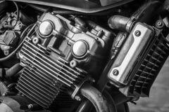 摩托车引擎细节运输或技术概念的 免版税库存图片