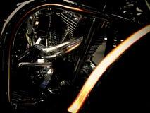 摩托车引擎结构黑色口气特写镜头 库存图片