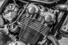 摩托车引擎细节运输或技术的 库存照片