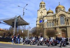 摩托车新的季节开头,瓦尔纳保加利亚 库存照片
