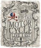 摩托车标签与习惯剁的例证的T恤杉设计 免版税库存照片