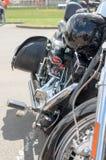 摩托车特写镜头,马达细节设备的片段  免版税库存照片