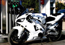 摩托车白色 免版税库存图片