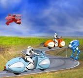 摩托车的两个未来派靠机械装置维持生命的人 库存例证