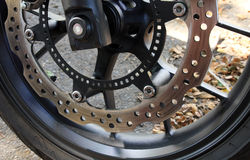 摩托车的盘式制动器 库存图片