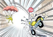 摩托车突然的刹车的和飞行的骑自行车的人 皇族释放例证