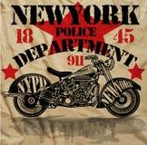 摩托车纽约乐趣人T恤杉图形设计 库存图片