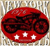 摩托车纽约乐趣人T恤杉图形设计 免版税库存照片