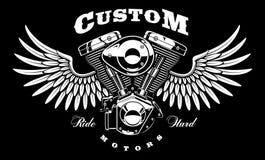 摩托车葡萄酒引擎有翼的在黑暗的背景 免版税库存图片