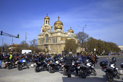 摩托车警察守卫公开事件 免版税图库摄影