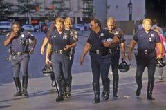 摩托车警察行  免版税图库摄影