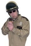 摩托车警,雷达枪,速度监视所,被隔绝 免版税库存图片