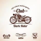 摩托车象征和标号组 库存图片