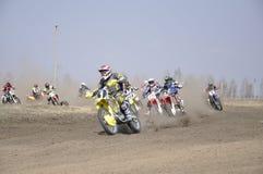 摩托车越野赛俄国翼果起始时间 免版税库存照片