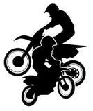 摩托车越野赛土骑自行车剪影 库存图片