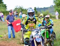 摩托车越野赛在萨列戈,西班牙 库存图片
