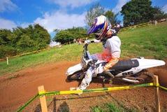 摩托车越野赛在萨列戈,阿斯图里亚斯,西班牙 免版税库存图片