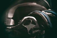 摩托车越野赛盔甲和手套 库存图片