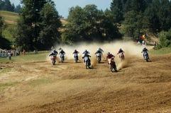 摩托车越野赛起始时间 库存图片
