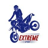 摩托车越野赛跃迁商标传染媒介 摩托车越野赛自由式传染媒介 摩托车越野赛传染媒介例证 免版税库存照片