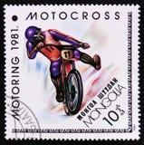 摩托车越野赛,开汽车的serie,大约1981年 库存照片