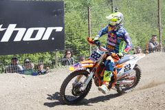 摩托车越野赛MXGP特伦托自治省2015年意大利安东尼奥托尼Cairoli #222 库存照片