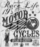 摩托车跑道印刷术, T恤杉图表,传染媒介 免版税库存图片