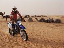 摩托车车手在沙漠 库存图片