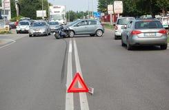 摩托车车祸 库存照片