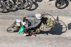 摩托车运输果子 库存照片