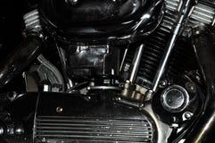 摩托车镀铬物引擎 库存照片