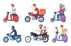 摩托车驾驶 人乘驾用妇女和孩子邮政食物比萨提供传染媒介字符动画片 向量例证