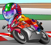 摩托车骑士赛跑 向量例证