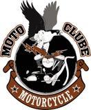 摩托车骑自行车的人赛跑的设计 库存照片