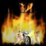 摩托车,在火的砍刀 免版税库存图片