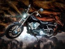 摩托车,跑车,学校班车,汽车,老汽车公司 免版税库存图片
