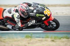 摩托车-丹尼尔乌鲁蒂亚加泰罗尼亚的冠军  库存图片