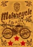 摩托车头骨葡萄酒老T恤杉设计 免版税库存图片