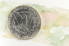 摩根银元水彩背景 免版税库存图片