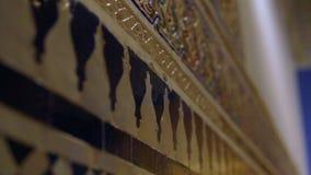 墙壁关闭 摩洛哥建筑学传统阿拉伯设计-富有Riyad达尔Si说马赛克内部 影视素材