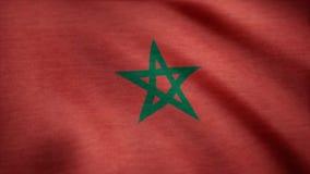 摩洛哥沙文主义情绪的动画 摩洛哥的旗子风的 免版税库存照片