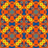 摩洛哥瓦片-无缝的装饰品 手画-红色,黄色,蓝色元素 库存例证