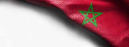 摩洛哥的旗子白色背景的-正确的顶面角落 库存照片