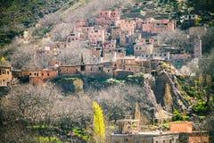 摩洛哥的阿特拉斯山脉的巴巴里人村庄 库存照片