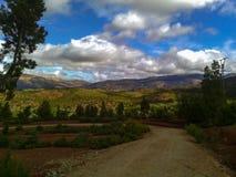 摩洛哥红色小山在图卜卡勒国家公园 库存照片