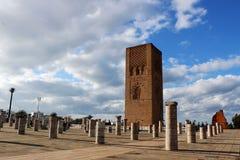 摩洛哥,拉巴特 哈桑国王陵墓在拉巴特塔v对面的mohamed ・摩洛哥 库存照片