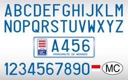 摩纳哥元首统治汽车板材、信件、数字和标志,西班牙 免版税图库摄影
