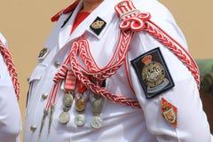 摩纳哥宫殿护卫夏天制服 免版税库存照片