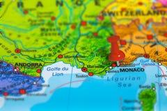摩纳哥法国地图 库存照片